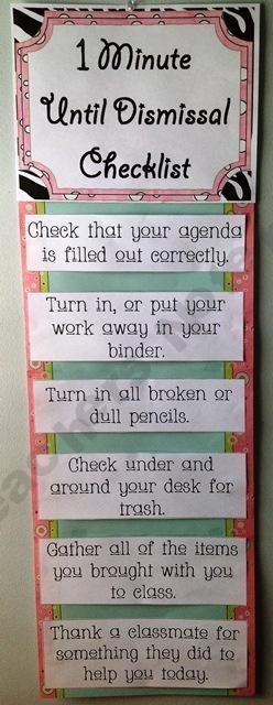 1 minute dismissal checklist
